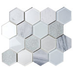 """CNK Tile - Mist Blend Hexagon Tile, 10.35""""x11.93"""" Sheet - A beautiful blend of materials marble, glass, and porcelain with a crackled glass finish. Sure to make any project stand out with these truly unique tiles.Details:"""