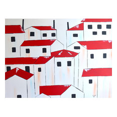 Acrylic Landscape Architecture Art, Red Roofs