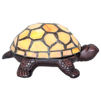"""2.5"""" Stained Glass LED Cordless Turtle Accent Lamp, Yellow"""