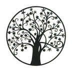 "Metal Outdoor Tree Wall Plaque 39""D"