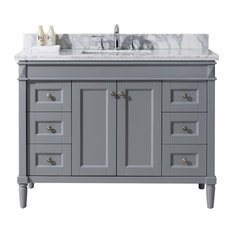 "Virtu Tiffany 48"" Single Bathroom Vanity, Gray With Marble Top, With Mirror"