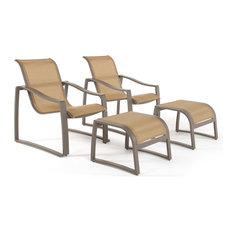 Zen Cream 4-Piece Club Chair and Ottoman Sling, Taupe
