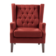 Madison Park Maxwell Button Tufted Wing Chair, Red