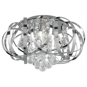 Tilly Chrome 3-Light Flush Light With Clear Glass Balls