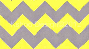 Yellow and Grey Chevron Art Print