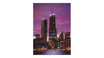 Chicago John Hancock Building at Dusk Poster 24x34
