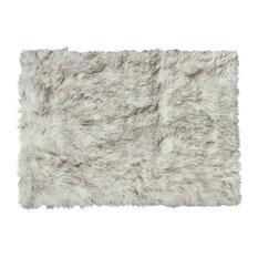 Hudson Faux Sheepskin Rug, Gradient Gray, 5'x8'