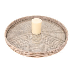 Artifacts Rattan™ Round Serving / Ottoman Tray, White Wash, Large