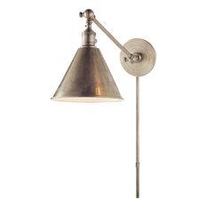 Boston Functional Single Library Light, Antique Nickel