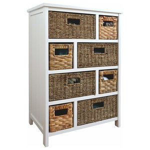Traditional Chest of Drawers in Painted Solid Wood with 8 Storage Baskets, White