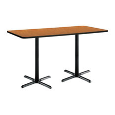 30-inch X 72-inch Pedestal Table With Medium Oak Top Black X-Base Bistro Height