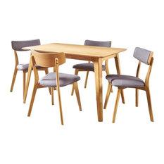 GDF Studio 5-Piece Meanda Mid Century Wood Dining Set, Dark Gray