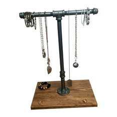 Industrial Jewelry Stand, Black Iron Pipe, Early American, Black