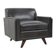 Milo Full Leather Mid-Century Chair, Charcoal