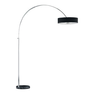 Magdeburg Arch Floor Lamp, Black Marble Base With Black Shade