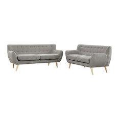 LexMod - Remark 2-Piece Upholstered Fabric Living Room Set, Light Gray - Living Room Furniture Sets