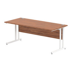 Impulse White Cantilever Base Desk, Walnut, 180x80 cm