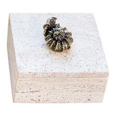 Luxe Coastal Bronze Seashell Travertine Box | Decorative Trinket Marble Square