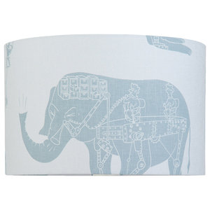 """PaperBoy Interiors """"How it Works"""" Lampshade, White and Blue, Floor or Table Fitt"""