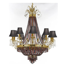 "Gallery T22-2225 12 Light 25"" Wide Crystal Empire Chandelier with Red Crystal A"