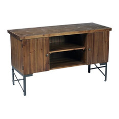 Pemberly Row Anston Natural Fir And Steel Gray Console Table