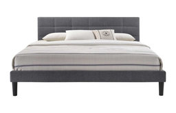 Lexington Queen-Size Square Tufted Upholstered Platform  Bed in Gray Fabric