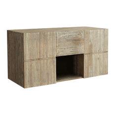 Rubberwood Wall-Mounted Bathroom Vanity Unit, 120 cm