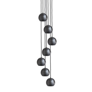 The Globe Collection 7-Light Cluster Pendant, Pewter