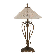 Olde Iron 2-Light Table Lamp Bronze Italian Ice Glass