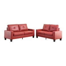 Platinum II Sofa and Love Seat, Red