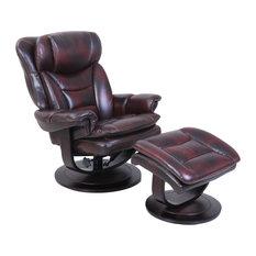 Barca Lounger - Roscoe Pedestal Recliner/Ottoman, Plymouth Mahogany - Recliner Chairs