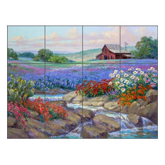 "Ceramic Tile Mural Backsplash ""Splash of Spring"" by Mikki Senkarik, 17""x12.75"""