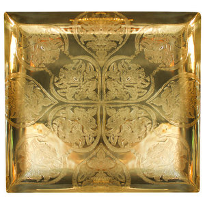 Baroque II Square Serving Tray, Polished Brass