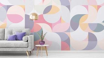 Harmonic Waves Geometric Wallpaper Murals