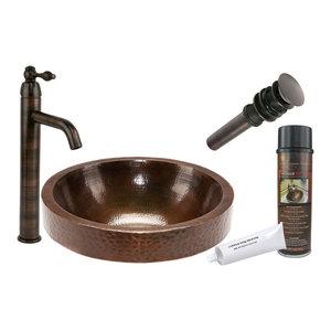 Round Skirted Vessel Hammered Copper Sink
