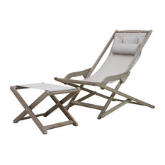Gray Wash and Champagne Sling Folding Lounger