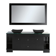 "Oasis 72"" Double Sink Vanity Set With Decorative Drawer, Espresso"