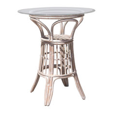 """Universal 36"""" Round Tempered Bevel Edge Glass Pub Table, Rustic Driftwood"""