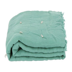 Double Tied Linen Quilt, Celadon Green, Euro King