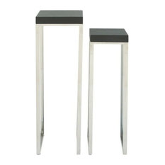 """GwG Outlet Wood Stainless Steel, Leather Pedstal Set of 2, 34"""", 39"""""""