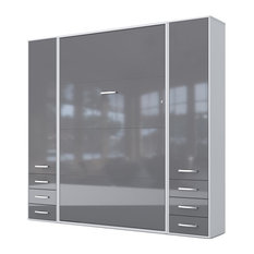 Invento Vertical Wall Bed With 2 Cabinets, White/Gray, European King