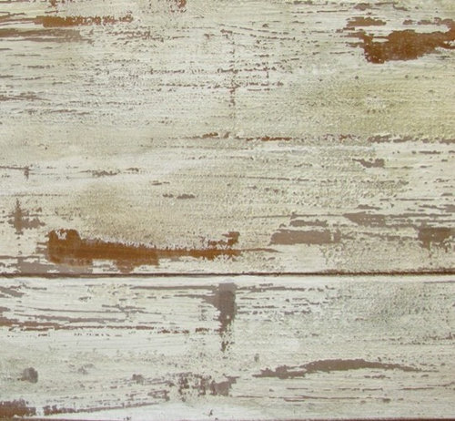 Painted Trompe Loeil Of Distressed Faux Wood Panels On Canvas