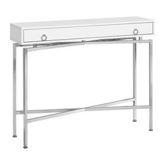 Offex OFX-504212-MO Home Accent Table 42-inchL Glossy White Chrome Hall Console