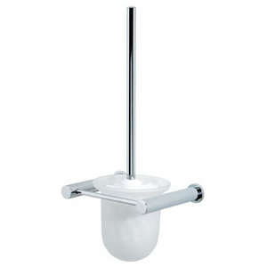 Wall-Mounted Rustproof Chrome and Glass Infinity Toilet Brush and Holder