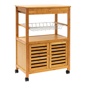 Modern Serving Trolley Cart, Bamboo Wood With Metal Baskets and Cabinet