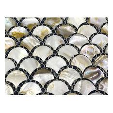 B02 Mother Of Pearl Shell Backsplash Tiles Sector Fan-Shaped Art Tiles Decals