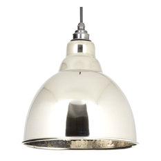 Brindley Hammered Nickel Pendant Light, Nickel
