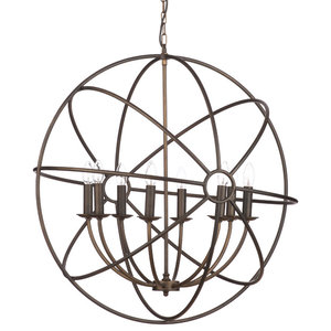 Orbital 8 Light Ceiling Pendant Light, Rust