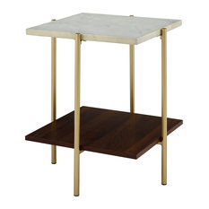 """20"""" Midcentury Modern Square Side Table, Marble/Gold"""