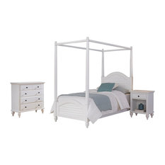 Home Styles Bermuda 3 Piece Wood Twin Canopy Bedroom Set in White